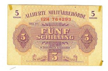 WW II Allied Military Currency - AUSTRIA - 5 Schilling