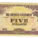Malaya 5 Dollar Note - Japanese Invasion Money ( JIM ) Note - WW II