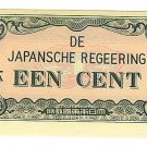 Netherlands Indies - 1 Cent (Een Cent) Note - Japanese Invasion Money ( JIM ) Note - WW II