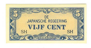 Netherlands Indies - 5 Cent (Vijf Cent) Note - Japanese Invasion Money ( JIM ) Note - WW II
