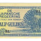 Netherlands Indies - Half Gulden Note - Japanese Invasion Money ( JIM ) Note - WW II