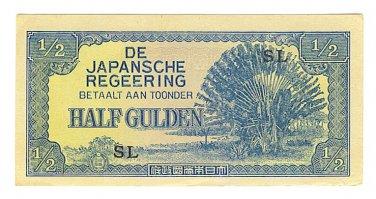 Netherlands Indies - Half Gulden Note - Japanese Invasion Money ( JIM ) Note - WW II