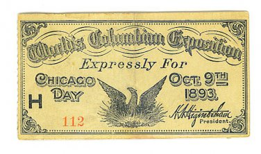 1893 World's Columbian Exposition CHICAGO DAY Ticket