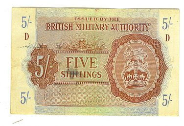 British Military Authority - WWII 5 Shillings Note