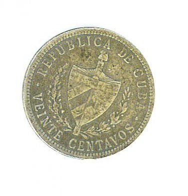 Republic of Cuba 20 (Veinte) Centavos Silver Coin - 1915