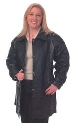Ladies Genuine Lambskin Leather Coat 3/4 length-large