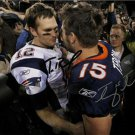 TOM BRADY TIM TEBOW SIGNED PHOTO 8X10 RP AUTO BRONCOS PATRIOTS