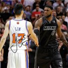 LEBRON JAMES JEREMY LIN SIGNED PHOTO 8X10 RP AUTO KNICKS HEAT