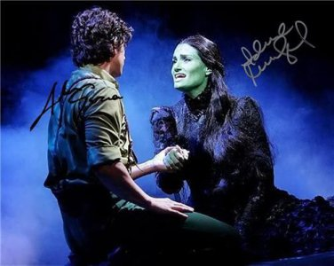 * IDINA MENZEL & ADAM GARCIA SIGNED 8X10 RP WICKED MUSICAL AUTOGRAPHED