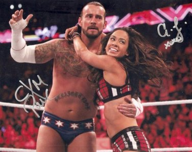 AJ LEE AND CM PUNK SIGNED PHOTO 8X10 RP AUTOGRAPHED WWE WRESTLING