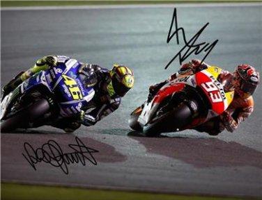 MARC MARQUEZ & VALENTINO ROSSI SIGNED PHOTO 8X10 RP AUTOGRAPHED MOTOGP