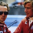 JAMES HUNT & NIKI LAUDA SIGNED PHOTO 8X10 RP AUTOGRAPHED RACING