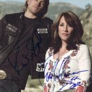KATEY SAGAL CHARLIE HUNNAM SIGNED PHOTO 8X10 RP AUTOGRAPHED SONS OF ANARCHY CAST