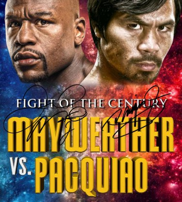 FLOYD MAYWEATHER JR & MANNY PACQUIAO SIGNED PROMO PHOTO 8X10 RP AUTOGRAPHED