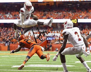 LAMAR JACKSON SIGNED PHOTO 8X10 RP AUTOGRAPHED LOUISVILLE CARDINALS LEAP !