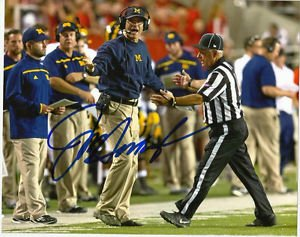 JIM HARBAUGH SIGNED PHOTO 8X10 RP AUTOGRAPHED MICHIGAN WOLVERINES !  GO BLUE !