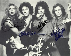 VAN HALEN BAND GROUP SIGNED PHOTO 8X10 RP AUTOGRAPHED DAVID LEE ROTH EDDIE ALEX