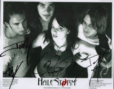 HALESTORM GROUP BAND SIGNED PHOTO 8X10 RP AUTOGRAPHED ALL MEMBERS LZZY HALE