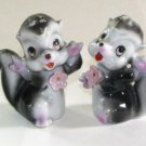 Skunks with Pink Flowers Salt & Pepper Shakers