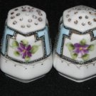 White Glass Nippon Hand Painted Lilacs Salt & Pepper Shakers