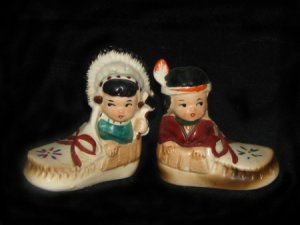 Boy and Girl in Moccasins Salt & Pepper Shakers