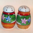 Egg Shaped White Glass Floral Salt & Pepper Shakers