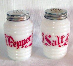 Anchor Hocking White Glass Range Sized Salt & Pepper Shakers