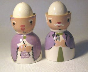 Mr & Mrs. Egg Cups with Eggs Salt & Pepper Shakers