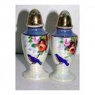 Blue Birds & Florals White Lustreware Salt & Pepper Shakers