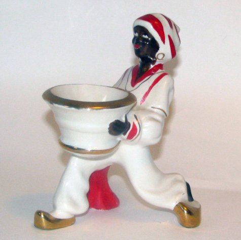 Occupied Japan Blackamoor Pottery Dish Vase