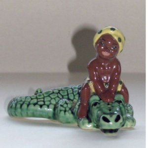 Black Americana Little Boy on Alligator S&P Shakers