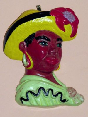 African American / Island Woman Chalkware Plaque