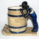Rare Black Americana Man on a Raft Pottery Mug