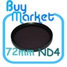 NEW 72mm ND4 Filter Neutral Density ND 4 for DSLR DC Camera Lens