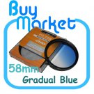 NEW 58mm Graduated Gradual Blue Color filter for DSLR lens