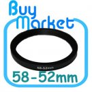 Adapter Filter Lens Step Down Ring 58-52mm 58mm to 52mm
