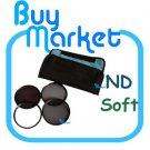 NEW 52mm ND2 + ND4 + ND8 + Soft Filter ND Kit Set with CASE for DSLR Camera Lens (***Free RA)