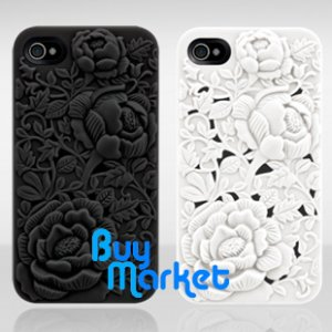 VALUE PACK! NEW White 3D Rose Blossom Hard Case Cover for Apple iPhone 4 4S 4G