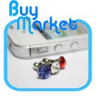 BLUE Diamond Anti Dust 3.5mm Earphone Jack Plug Stopper for iPhone 4 4S iPad Galaxy