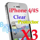 3x LCD Screen Protector Film Guard for iPhone 4 4G 4S New Ultra Crystal Clear
