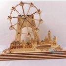 Wooden Construction Set Solar Powered London Eye Farris Wheel model toys figure
