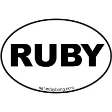 RUBY Mini Euro Style Oval Sticker
