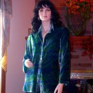 SOFT SURROUNDINGS PAISLEY VELVET SHIRT TEAL XL ORIG $98