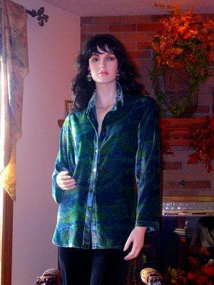 SOFT SURROUNDINGS PAISLEY VELVET SHIRT TEAL XL ORIG $98