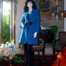 NWT SOFT SURROUNDINGS LUNCH AT THE PLAZA 100% BOILED WOOL COAT BLUE XS $159