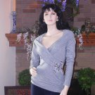 SOFT SURROUNDINGS OLIVIA BAMBOO CASHMERE SWEATER GREY XL