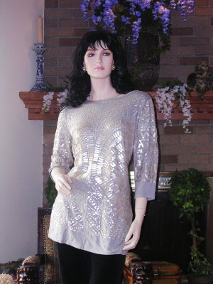 SOFT SURROUNDINGS GLAM TUNIC Soft Grey 1X $118