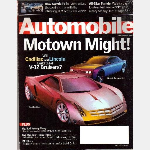 AUTOMOBILE February 2002 Magazine AUDI S8 Pontiac VIBE Toyota Matrix PT Cruiser VOLVO XC90 TOYOTA M2