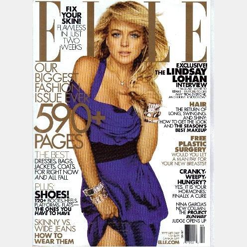 ELLE September 2007 Magazine LINDSAY LOHAN REHAB Charlotte Gainsburg KARL LAGGERFIELD STEFANO PILATI