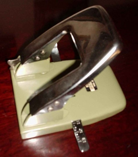 "KW brand 2 hole paper punch ""Super Paper"" No 2 METAL with sliding rule"